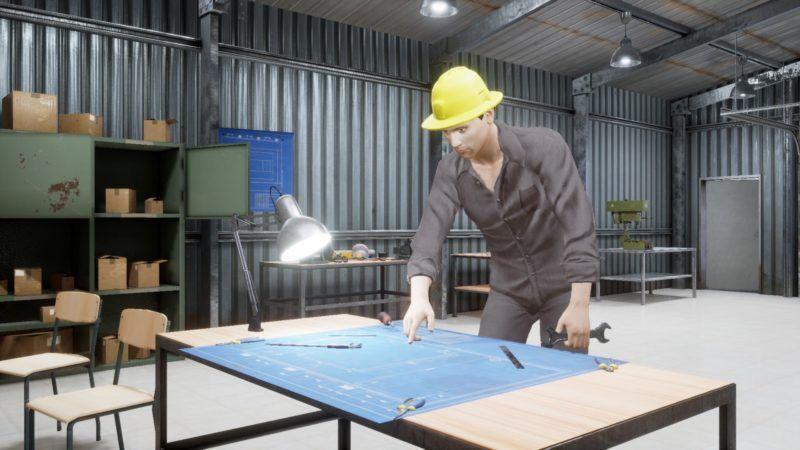 Figure 4: A virtual human performing activities in a 3D workshop scenario.