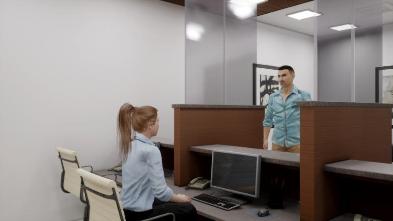 Figure 8: A virtual human speaking to a patient's family member at the reception.