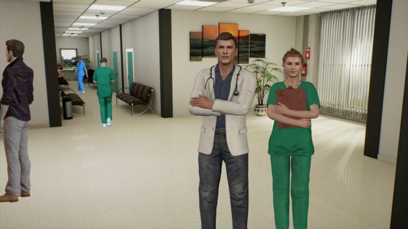 Figure 1: Virtual 3D characters in a hospital setup.